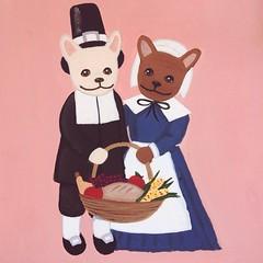 Feeling #fall today. #painting #lizlangley #autumn #thanksgiving #pilgrims #frenchbulldog #frenchie #frenchbulldogsofinstagram #stationery #card