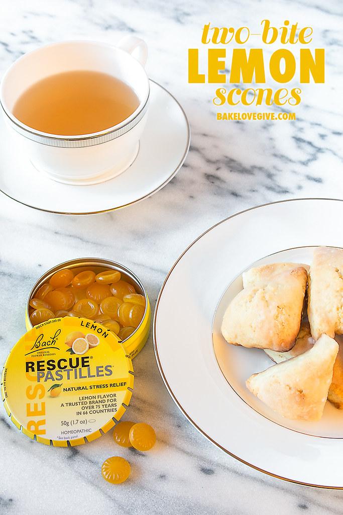 Two-bite Lemon Scones + 5 Tips for Relieving Stress