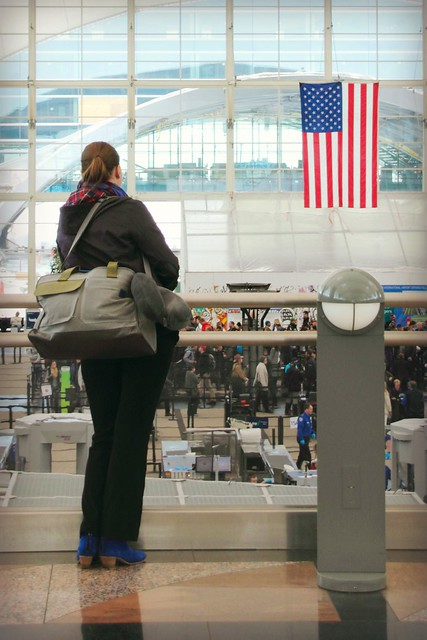 Golla AXL Cabin Bag at Denver Airport with US flag