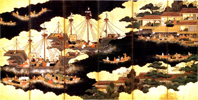 Nanban ships arriving for trade in Japan depicted on six-fold lacquer and gilded screen