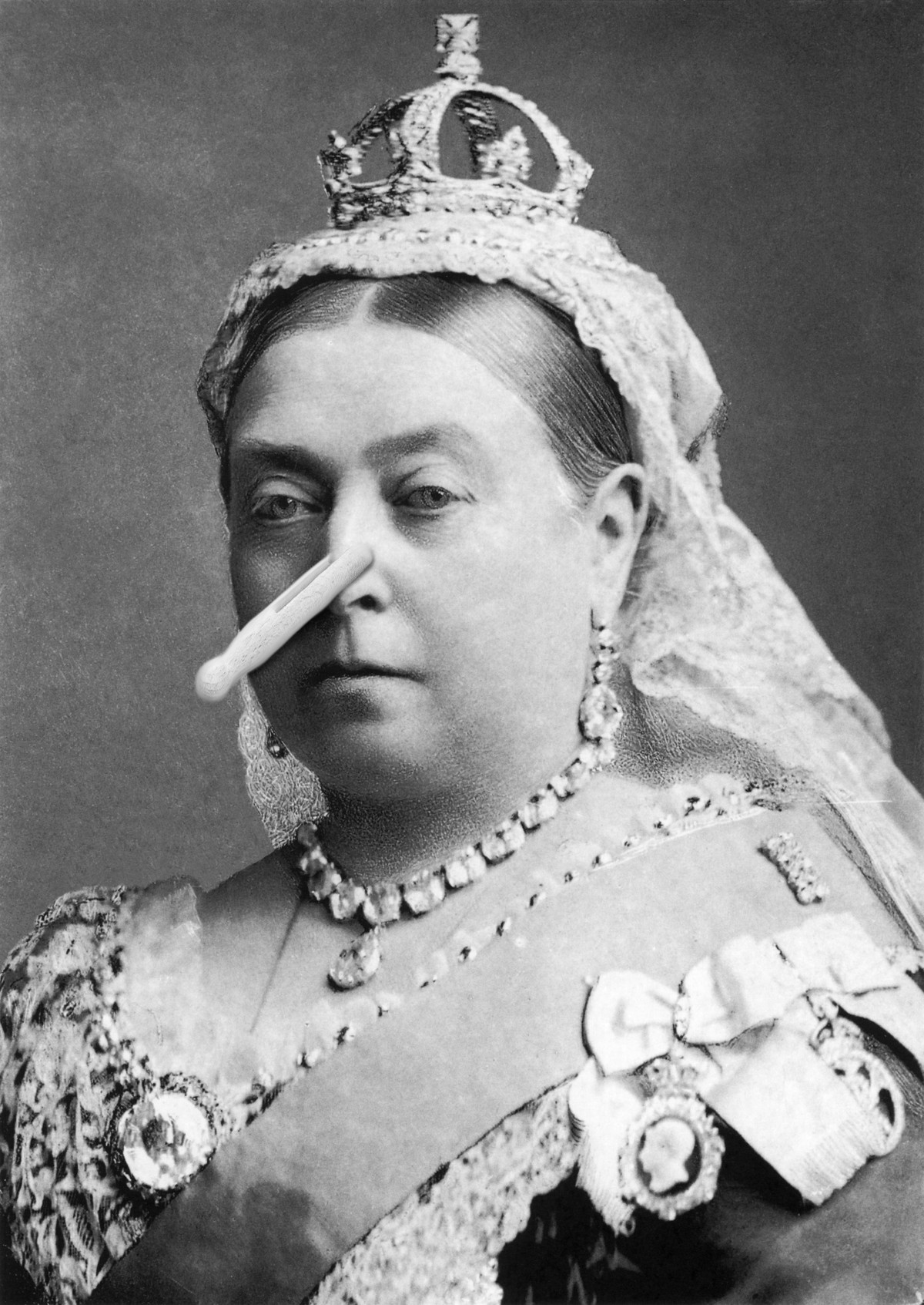 Queen Victoria with a clothes peg on her nose