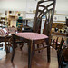 Ornate dark wood stained dining chair â¬35