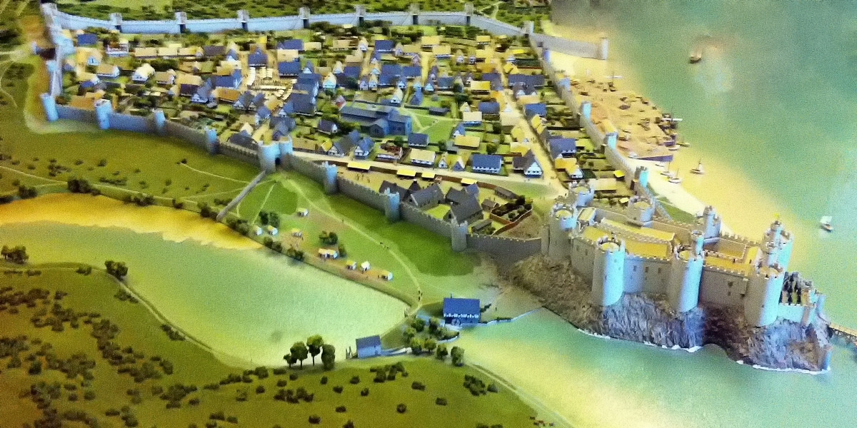 Reconstruction of Conwy Castle and town walls at the end of the 13th century. Credit Hchc2009