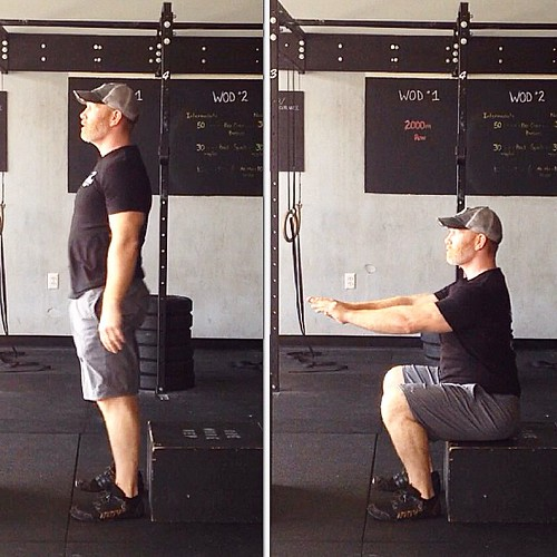Day 9 #Spartan30 #squat Challenge!  Sit and Stand Squat.  3 x 10.  Here is how to reprogram a proper squatting pattern: - find a chair, box, a toilet, etc. that is a comfortable height to start - stand with feet shoulder width apart  - toes slightly turne