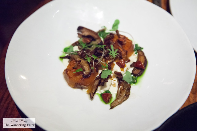 Stracciatella, Mushrooms, Sweet Potatoes and Almonds