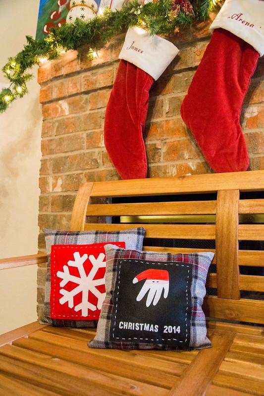 Handprint Santa Craft Holiday Keepsake Pillow