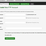 The form to create a new ftp account