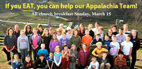 Photo ad for Breakfast on March 15th to support Appalachia Mission trip
