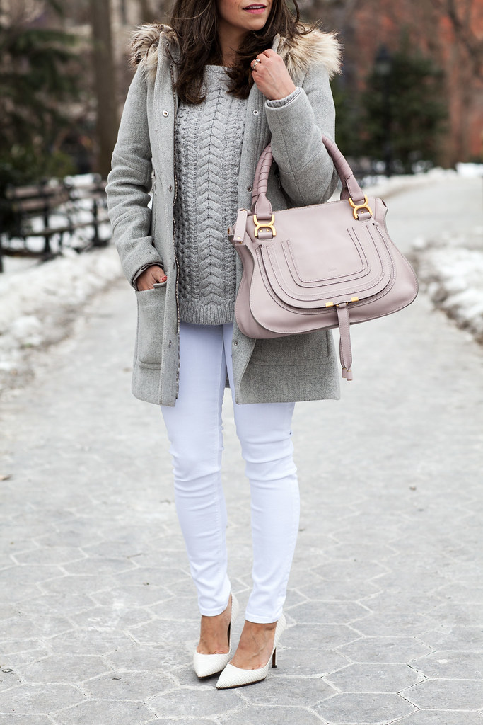 club monaco grey sweater white hudson highwaisted jeans crew parka chloe marcie satchel casual look outfit corporate catwalk DVF bethany white heels white shoes grey coat corporate blogger chic outfits what to wear