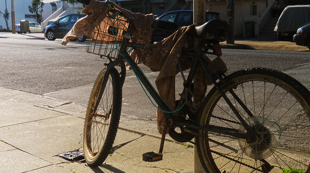 brown sun dress-draped bicycle; the sunset, san francisco (2014)