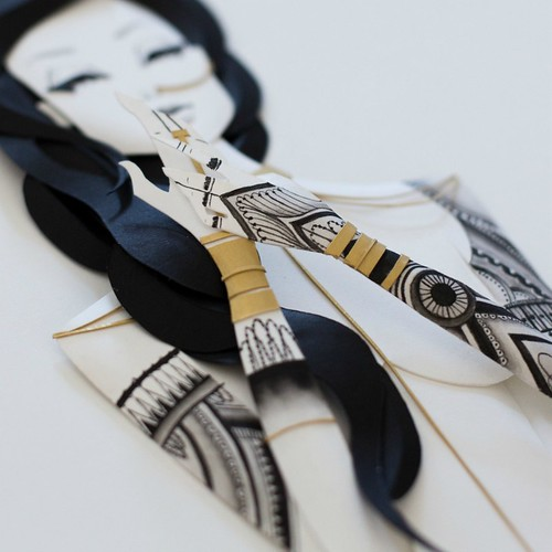 Illustrated Paper Sculpture - inked woman (detail)