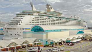 Passengers in line to enter the terminal at Port Canaveral and board Royal Caribbean, Explorer of the Seas