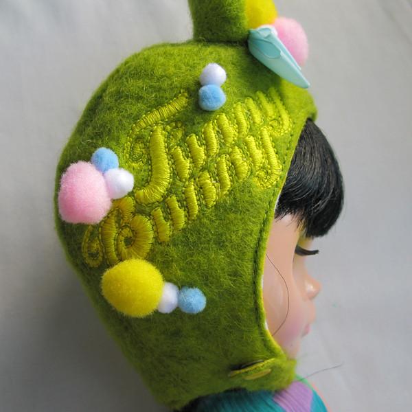 Pom pom bunny helmet