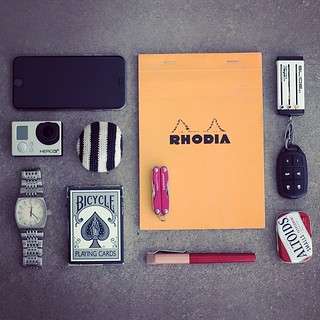 Combat boredom and be ready for anything with this weekend escape #edc. #Keyport #rhodia #ikeyless #niteize #altoids #gopro #hero #leatherman #hackysack #bicycle #diesel #karas #iphone #everydaycarry #stainless #keyportslide #keyorganizer #pocketdump #gea