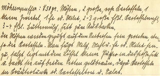 Altes Kochbuch Rezeptbuch Rezeptheft Rezept handgeschrieben alte deutsche Schrift Sütterlin Kurrentschrift Kartoffelrezept Gemüserezept Möhrenpuffer Transkription Brigitte Stolle Mannheim