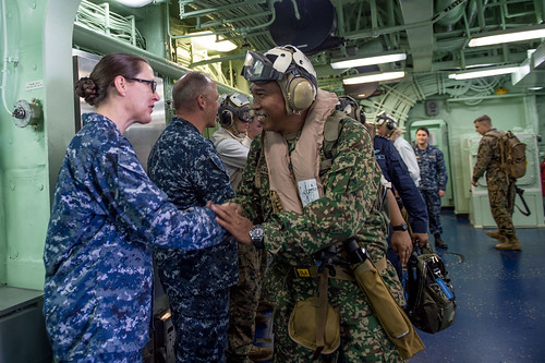 KOTA KINABALU, Malaysia (NNS) -- Malaysian Armed Forces and delegates from the State of Sabah, Malaysia, visited the forward-deployed amphibious assault ship USS Bonhomme Richard (LHD 6) and the embarked 31st Marine Expeditionary Unit (MEU).