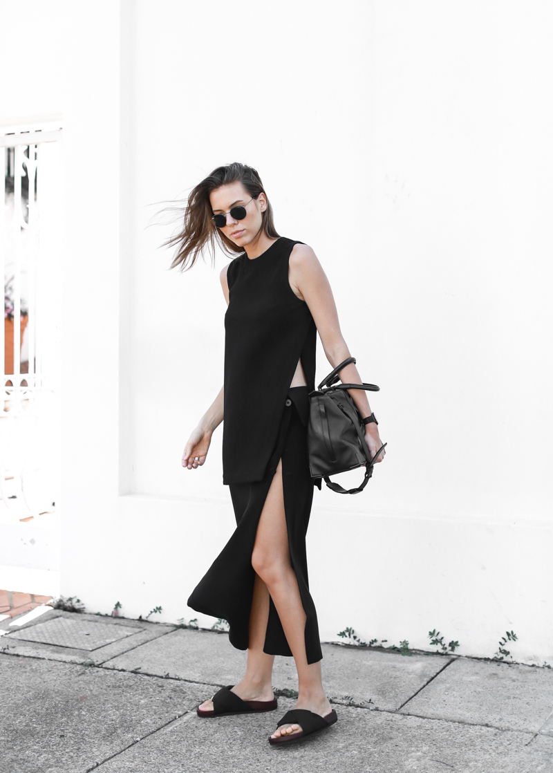 modern legacy, fashion blog, street style, all black, split skirt, Nomia, My Chameleon, Celine, slide sandals (1 of 4)