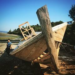 En construcción. Lancha en Rilán, Castro, Chiloé.