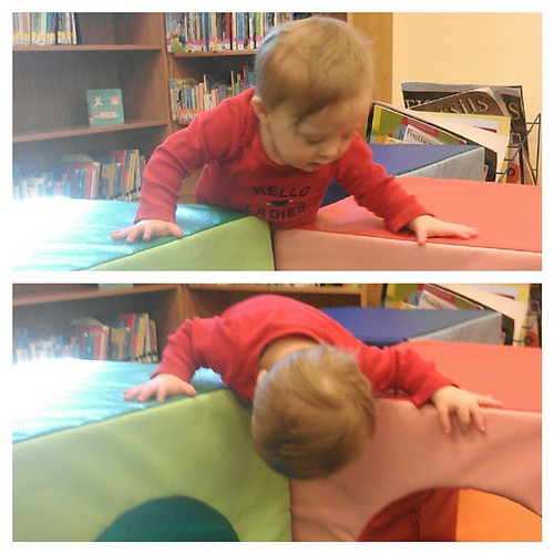 A big thank you to Liam's physical therapist for teaching him how to climb. Then again, life was easier before he could do this!!!