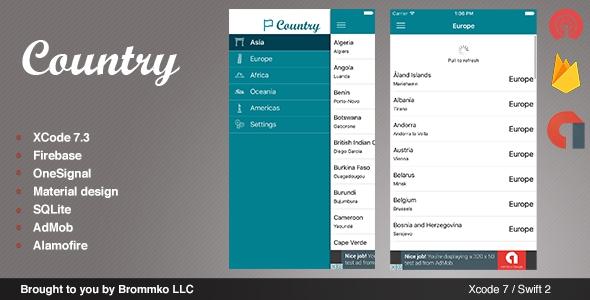 Country – Full iOS template app written in Swift