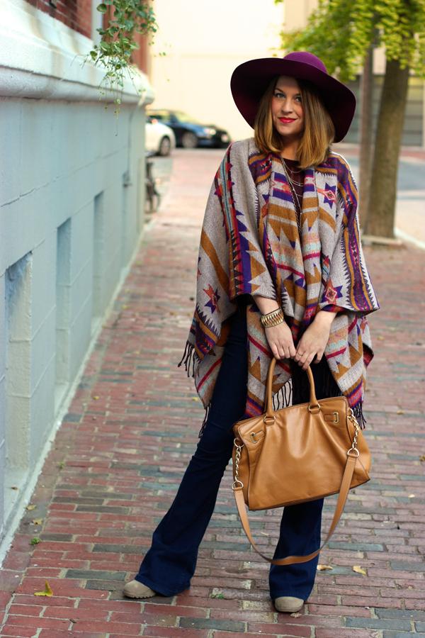 blanket poncho, how to wear, boston fashion blogger