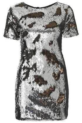 topshop two-tone sequin bodycon dress bronze