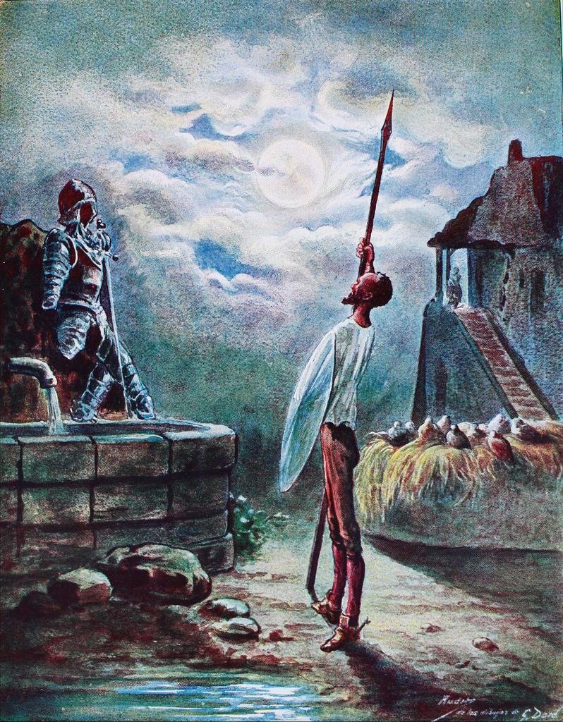 Arrimado a su lanza ponía los ojos en las armas... Autor, Gustave Doré