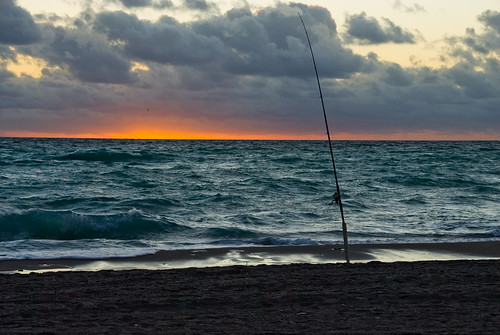 beach sunrise fishing unitedstates florida january pole fishingpole orangeandblue daniabeach