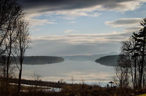 camera trees sunset sky mist ny newyork reflection water fog clouds river december unitedstates year upstate hills valley hudson mansion month rhinebeck 2014 wilderstein d5100 nikond5100