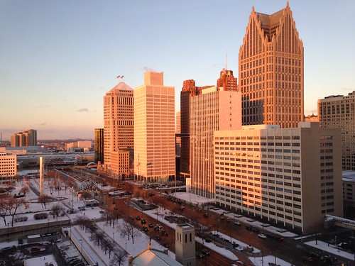 morning winter skyline sunrise detroit downtowndetroit detroitskyline