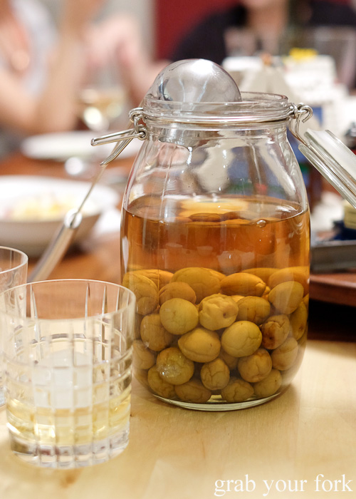 Homemade umeshu at the Stomachs Eleven Christmas dinner 2014