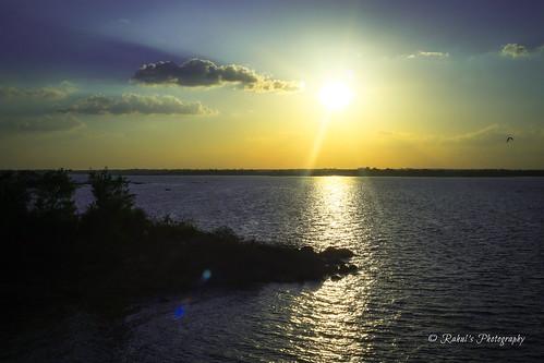 sunset sky sun india lake nature water photography hyderabad telangana himayatsagar
