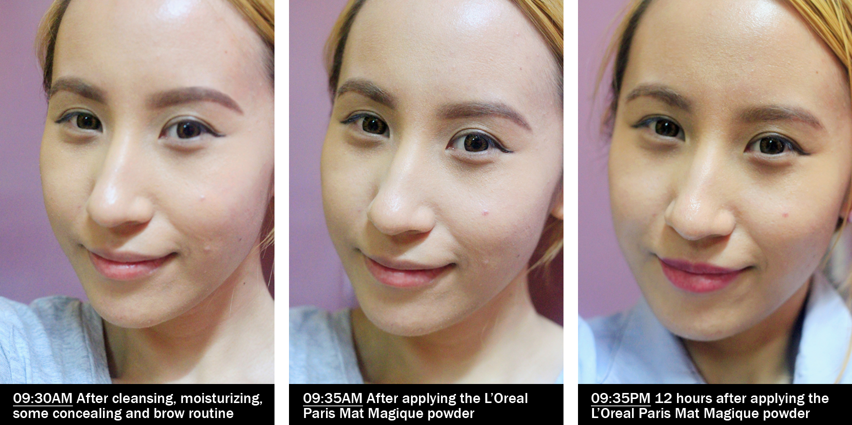 L'Oreal Mat Magique before and after application