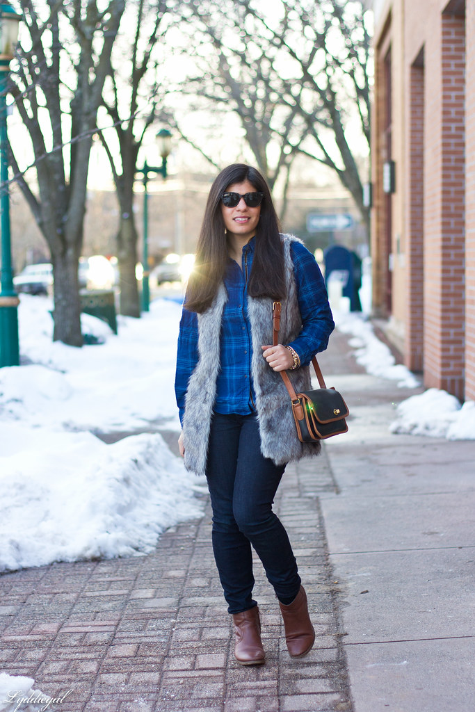 blue plaid shirt, fur vest, coach bag.jpg