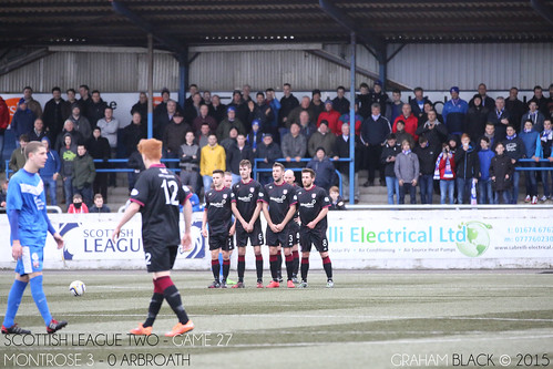 Montrose 3 - 0 Arbroath - An Arbroath wall takes cover