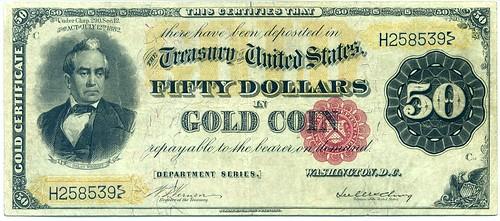 50 dollar gold certificate