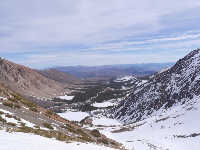 Looking Down the Virginia Lakes drainage  Wheres the snow?