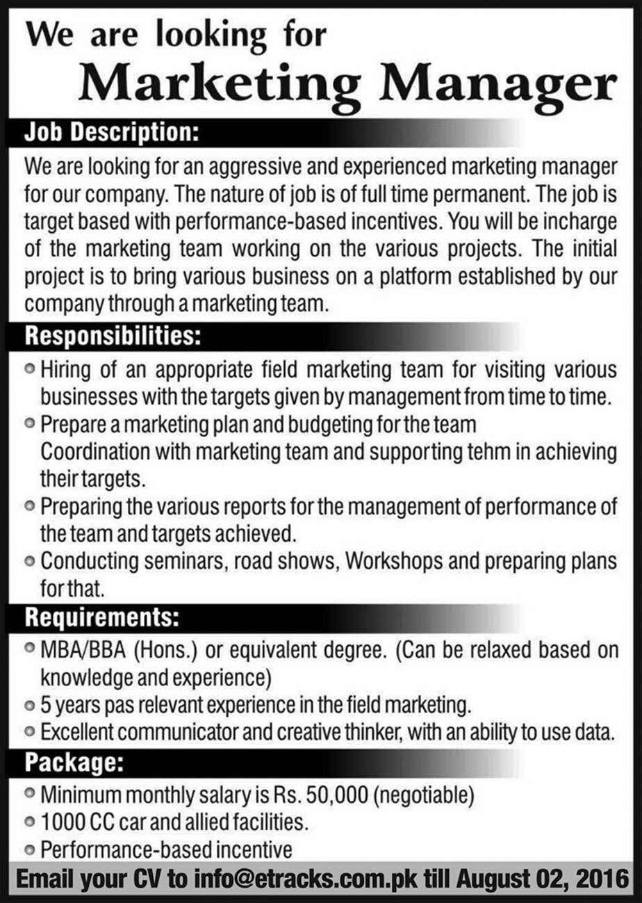 Marketting Manager Required