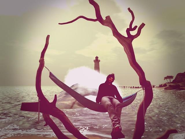Black Basalt Beach  -Driftwood Hammok