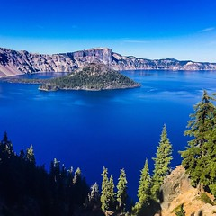 Wizard Island located in Crater Lake National Park.