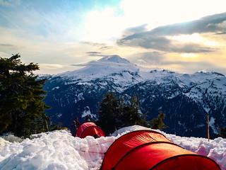 A beautiful campsite on Mt. Shuksan overlooking Mt. Baker