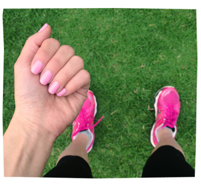 Running and Pink Nails