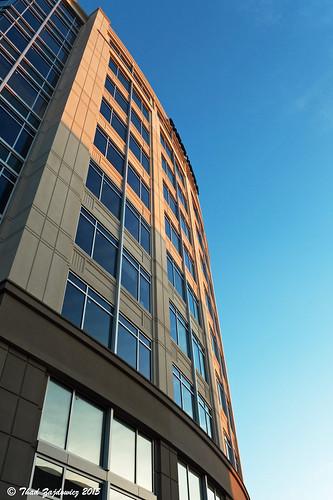 leica morning blue windows light shadow sky color building architecture maryland rockville zajdowicz