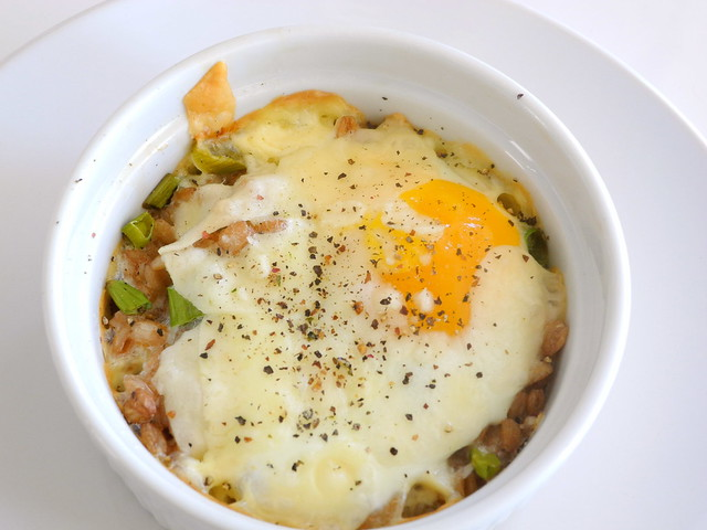 Baked Eggs with Farro and Parmesan Cheese