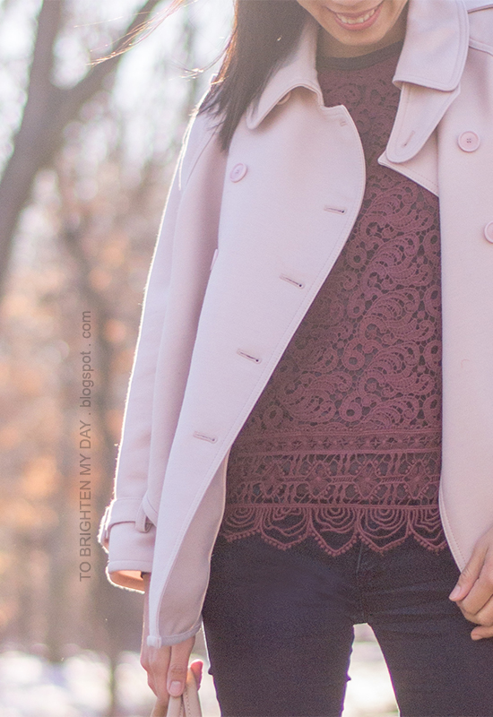 pink trench cape, burgundy lace top, purple tee