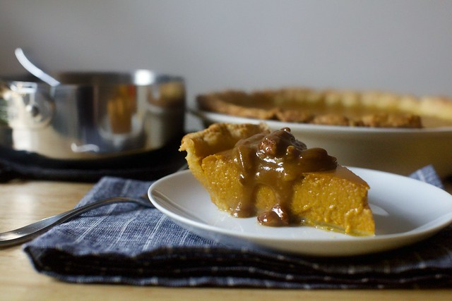 classic pumpkin pie + pecan praline sauce
