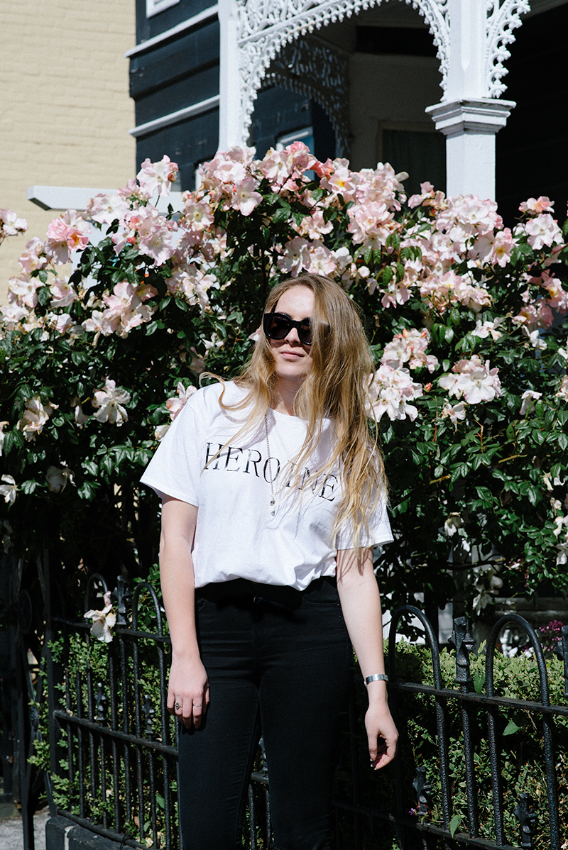 Heroine Top ASOS Ridley Jeans Tony Bianco Marti Slides Le Specs Runaways