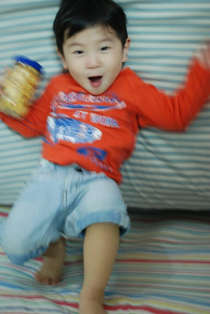 Jumping around in bed!