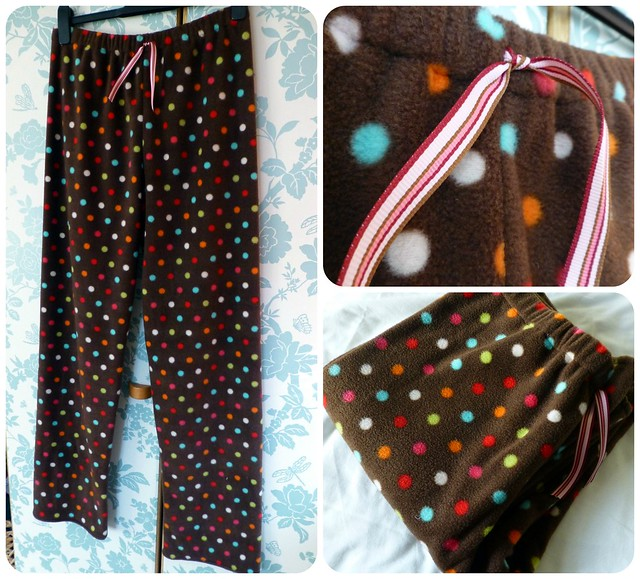 PJ bottoms in dotty fleece