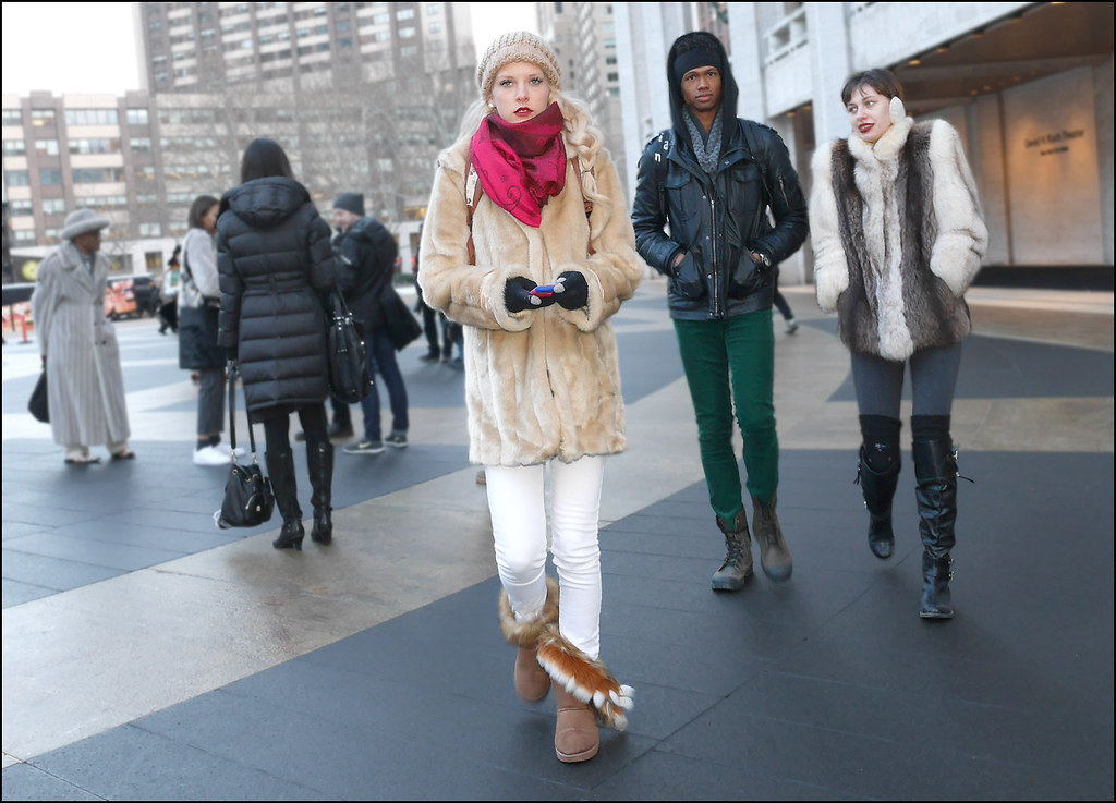 FW2-15  3 wm3 fur jackets  red scarf knit hat white jeans fur topped bootsover the knee boots